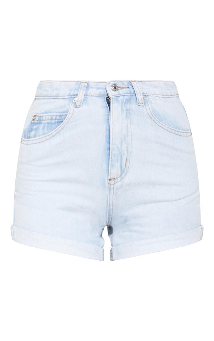 Bleach Wash Turn Up Mom Shorts  3