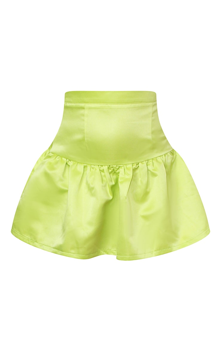 Petite Lime Satin Flippy Hem Mini Skirt 6