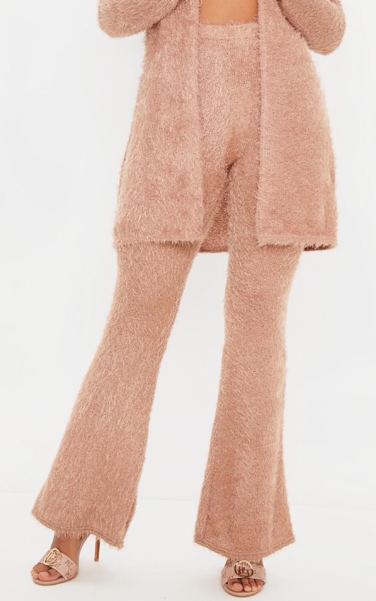 Camel Eyelash Knit Flare Pants 2