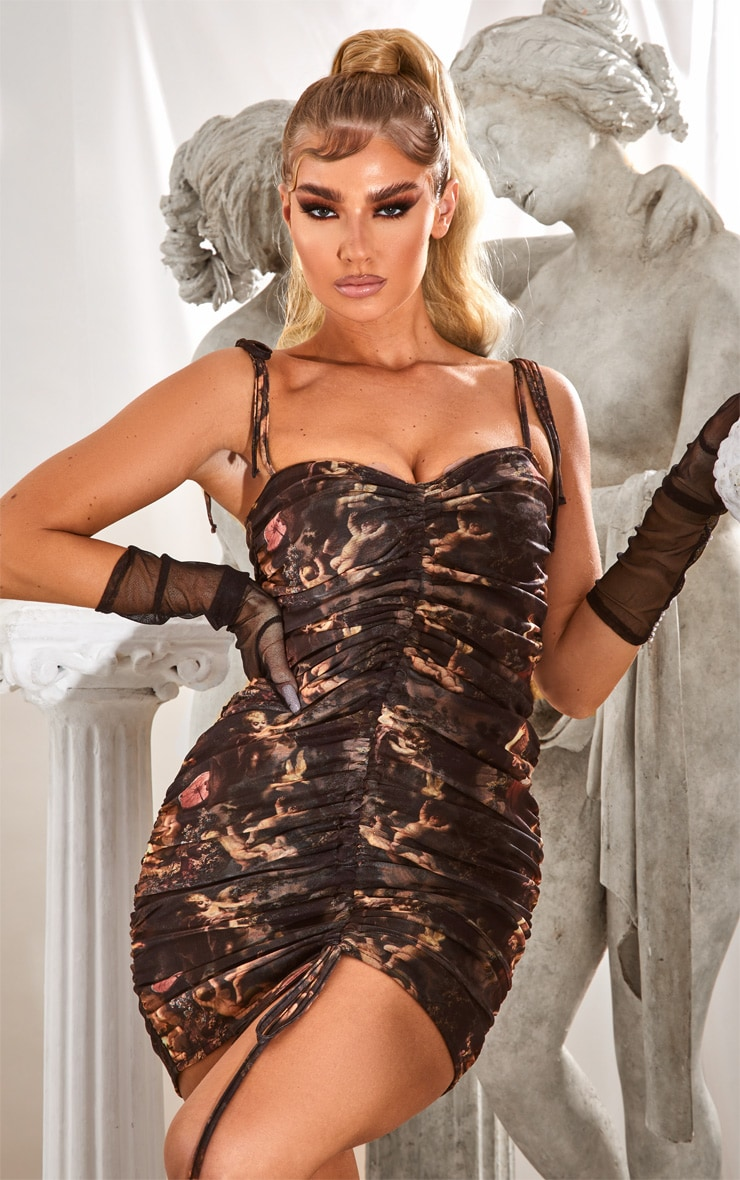 Black Renaissance Print Ruched Strappy Bodycon Dress 1