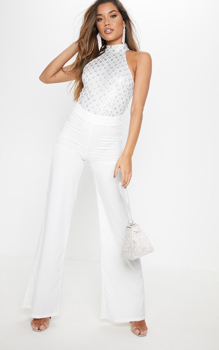 Silver Halterneck Glitter Bodysuit 5
