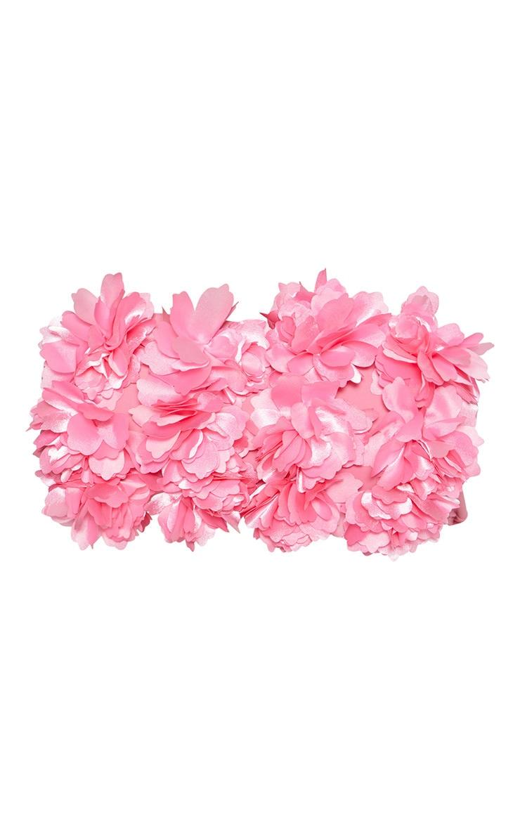 Pink 3D Floral Bandeau Bikini Top 3