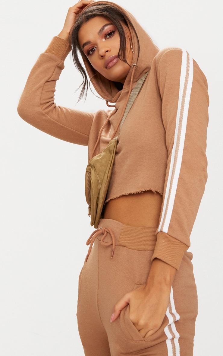 Taupe Side Stripe Hoodie