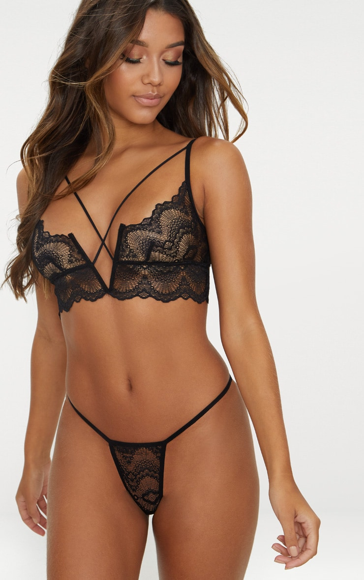 Black V Cross Front Lace Lingerie Set