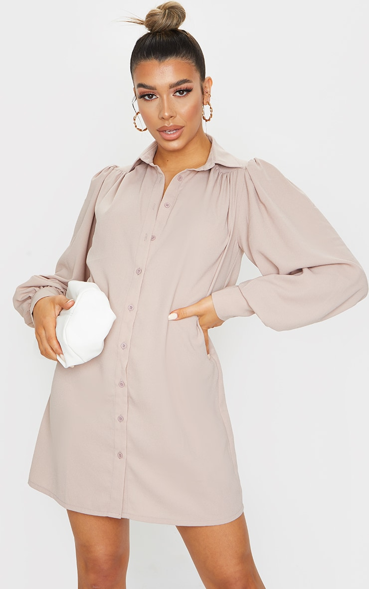 Stone Chiffon Oversized Extreme Cuff Shirt Dress 1