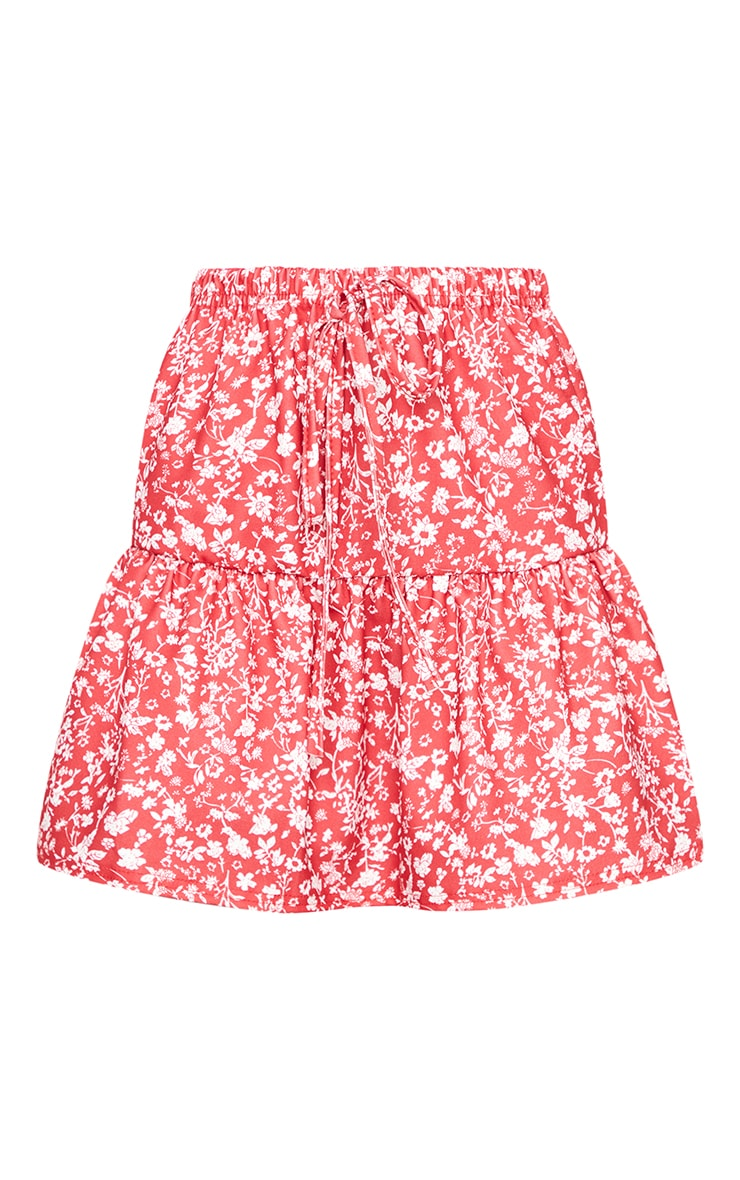 Red Ditsy Floral Tie Waist Ruffle Skirt 6
