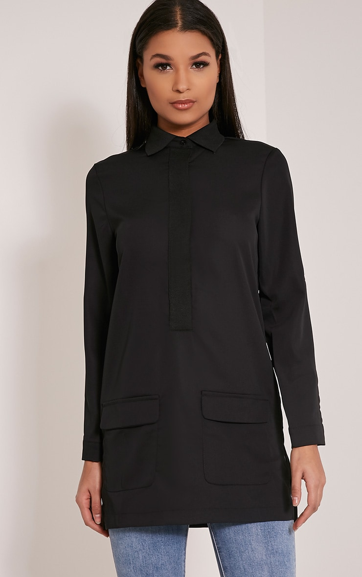 Hana Black Pocket Detail Oversized Longline Shirt 1