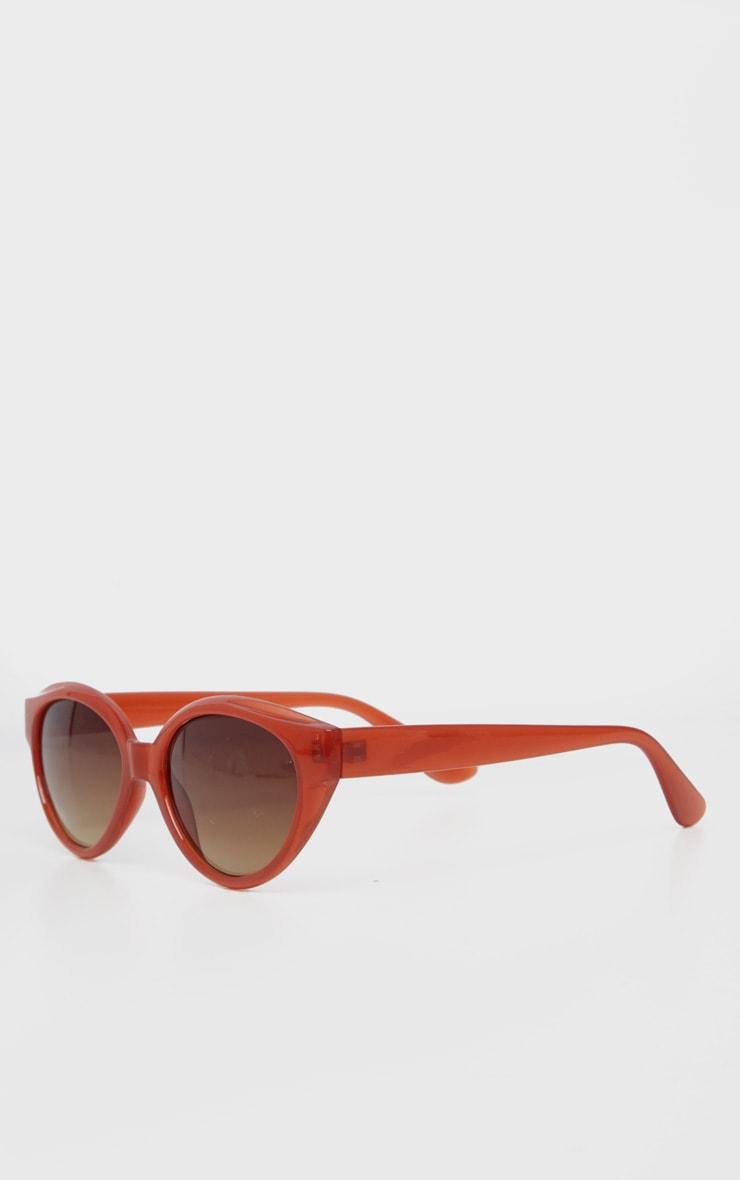 Red Plastic Frame Oval Sunglasses 3