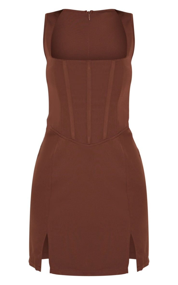 Chocolate Brown Sleeveless Corset Detail Bodycon Dress 3