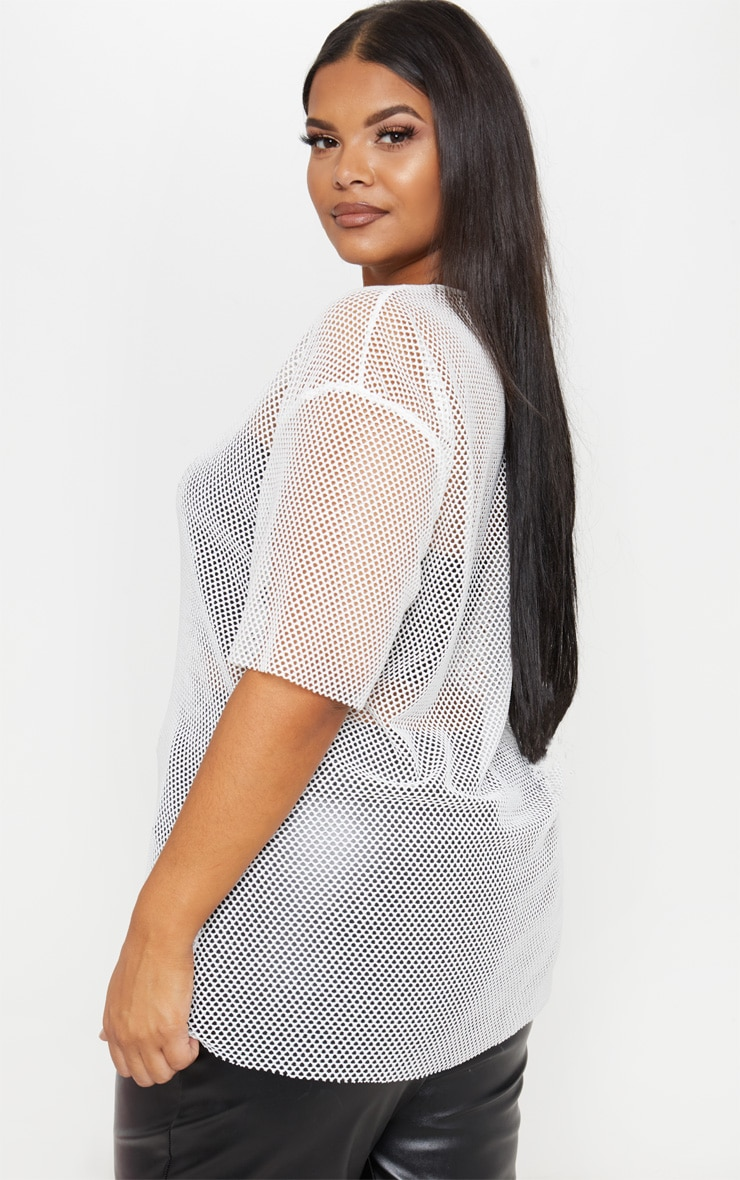 Plus Ivory Fishnet Oversized T-Shirt  2