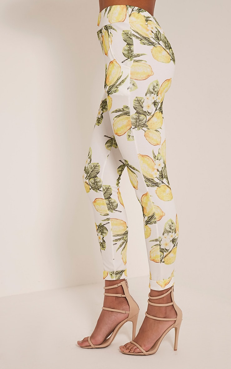 Farren White Lemon Print Cigarette Trousers 4