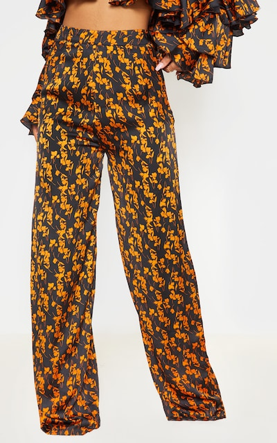 Black Floral Woven High Waisted Wide Leg Trouser