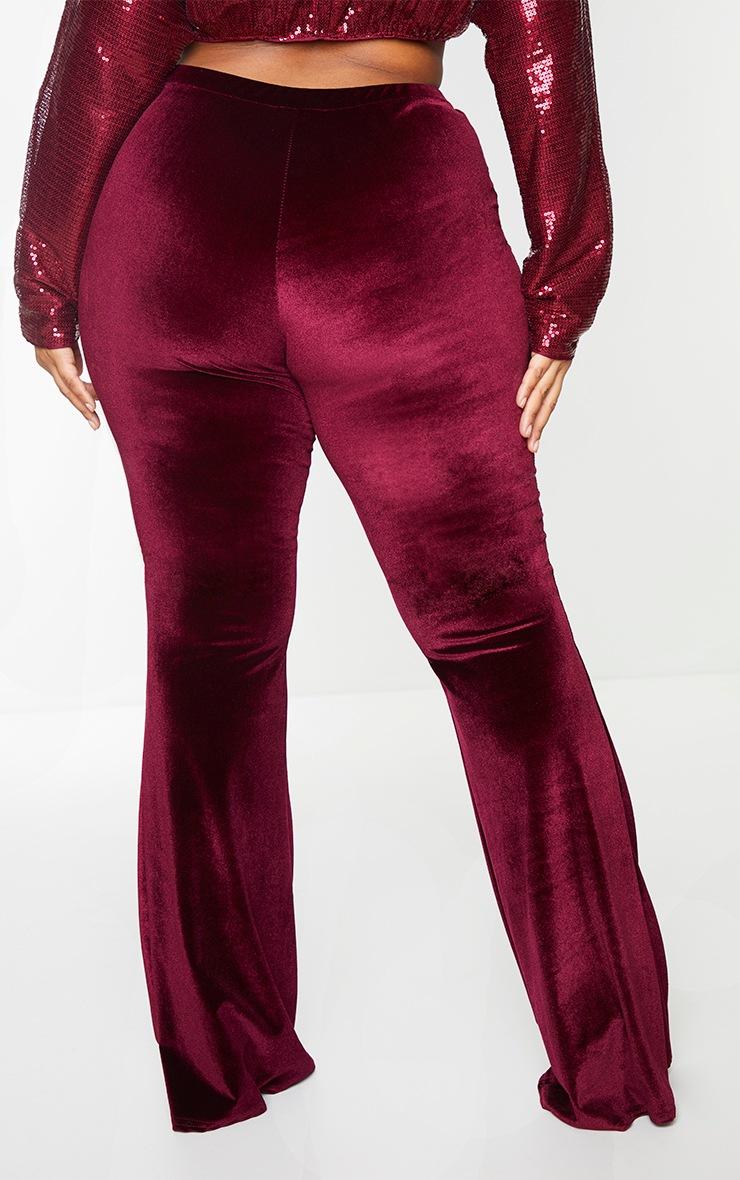 Plus Burgundy Velvet Flared Pants 3