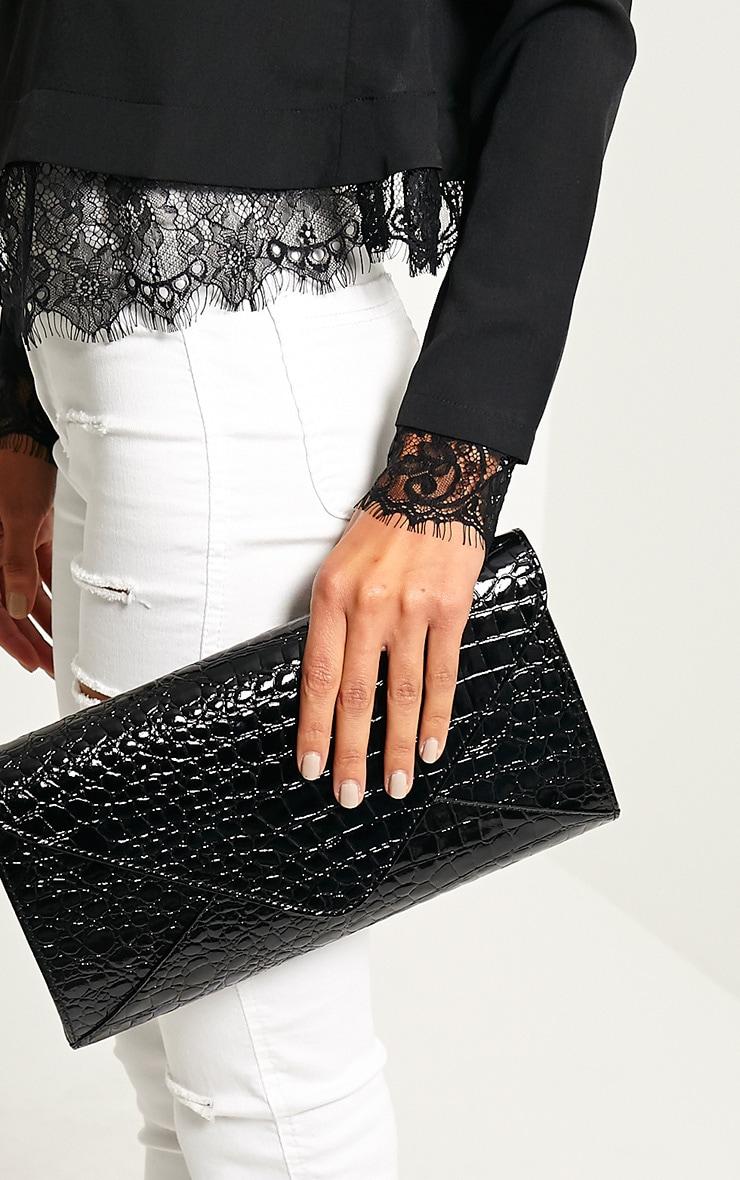 Janie Black Patent Croc Clutch Bag 2