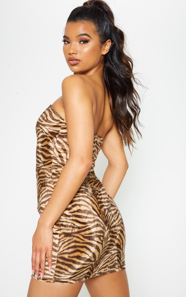 Tan Brushed Velvet Tiger Bandeau Bodycon Dress 3