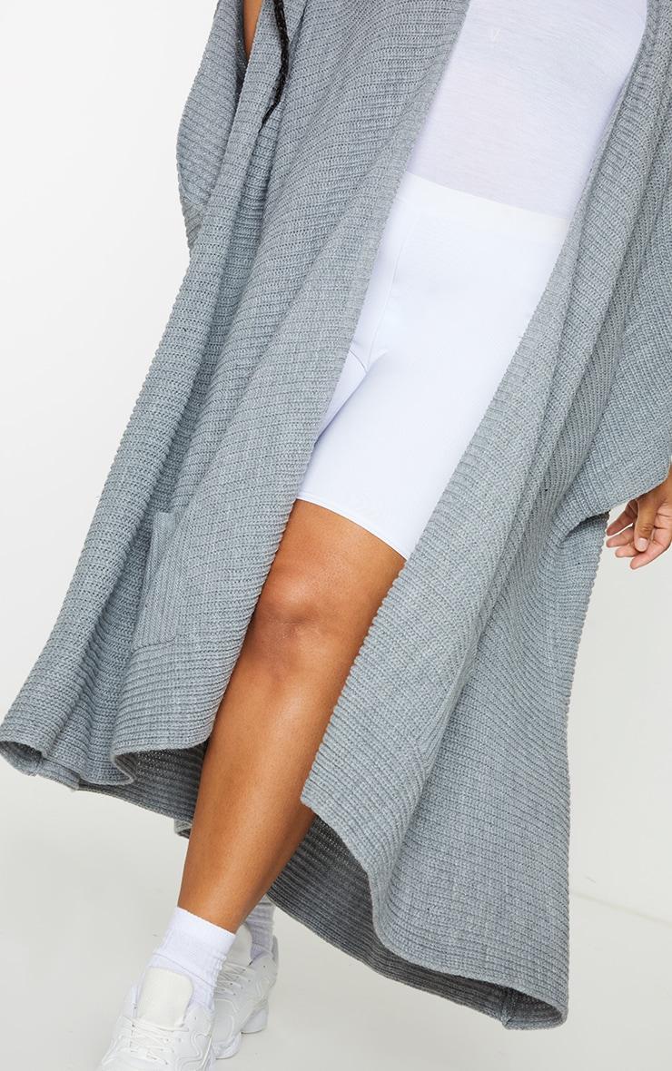 Plus Grey Chunky Knit 3/4 sleeve Wrap Cardigan 4