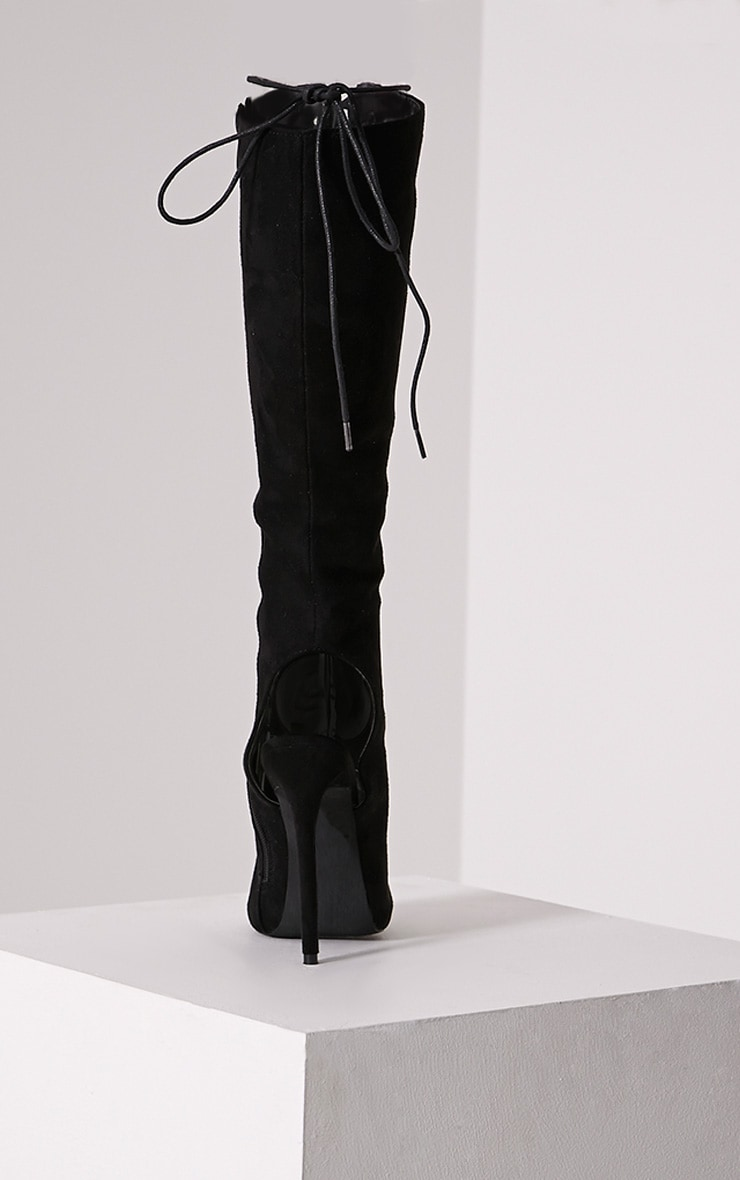 Sharon Black Lace Up Knee High Boots 5