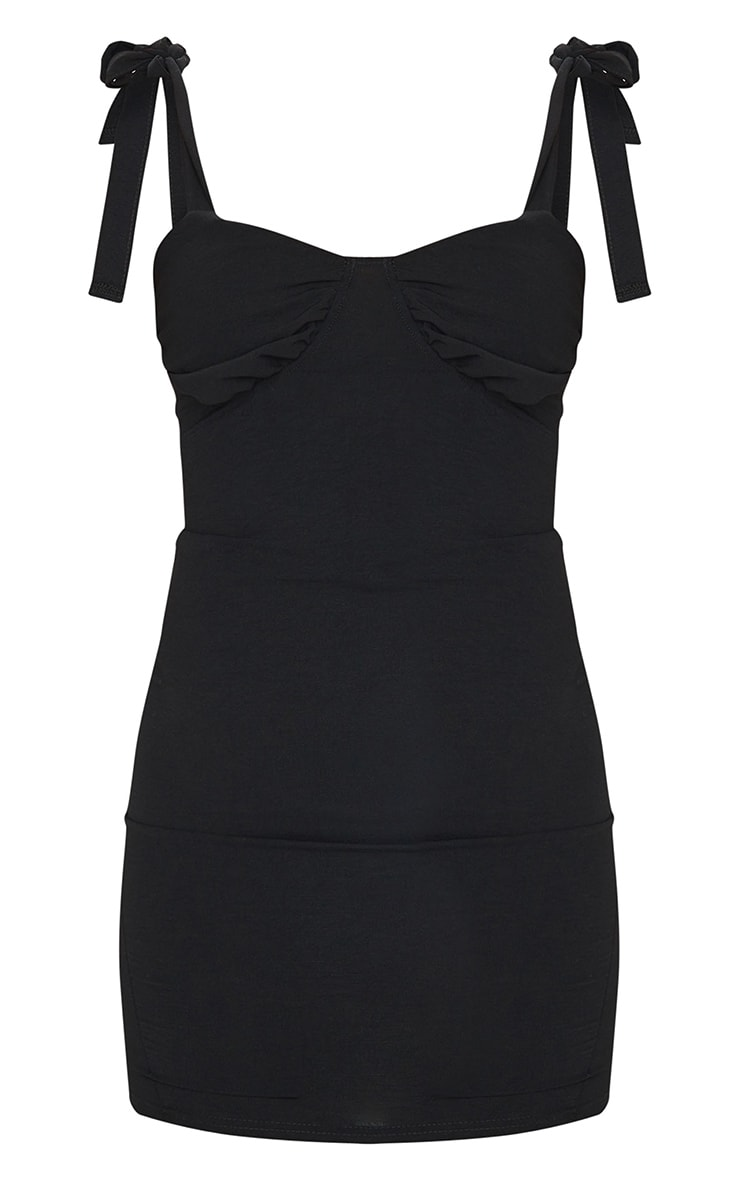 Black Woven Ruched Bust Sleeveless Bodycon Dress 5