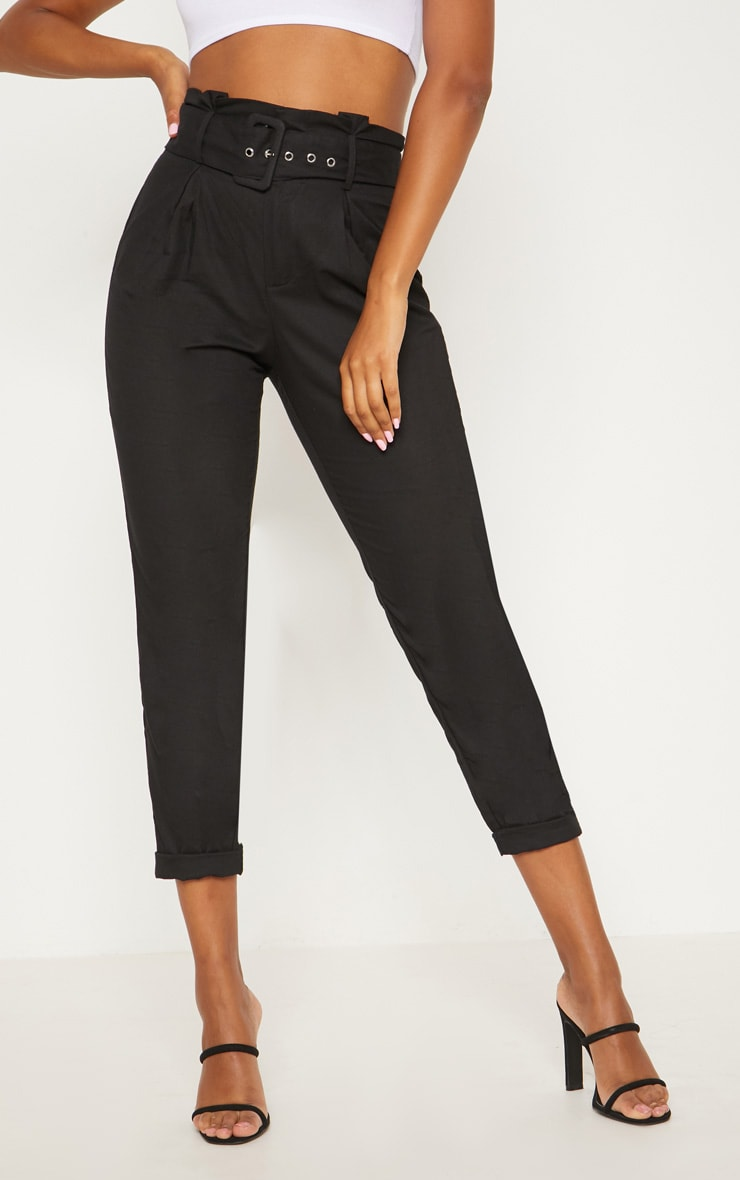 Black Belted Paperbag Tapered Trouser 2