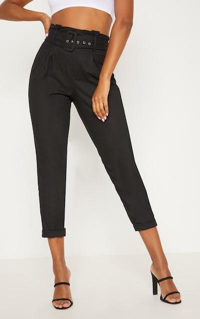 Black Belted Paperbag Tapered Trouser