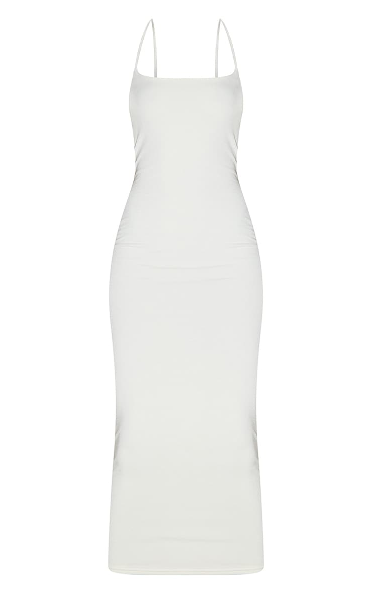 Recycled Tall Cream Contour Jersey Strappy Ruched Midi Dress 5