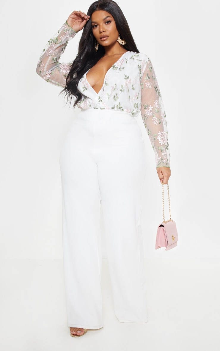 Plus White Floral Embroidered Bodysuit  5