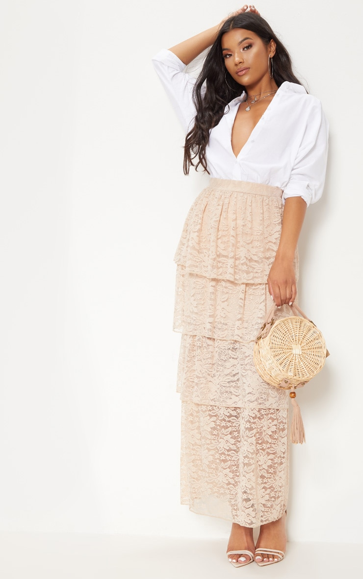 Stone Lace Tiered Maxi Skirt 1