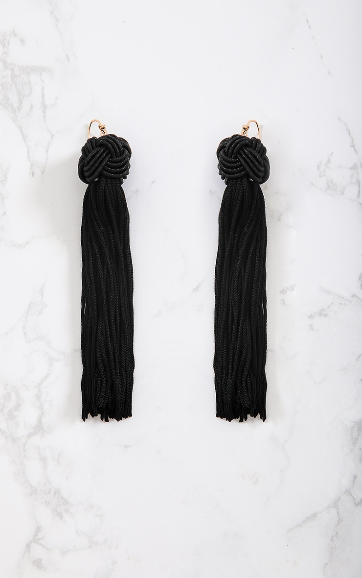 Black Knotted Tassel Earrings 4