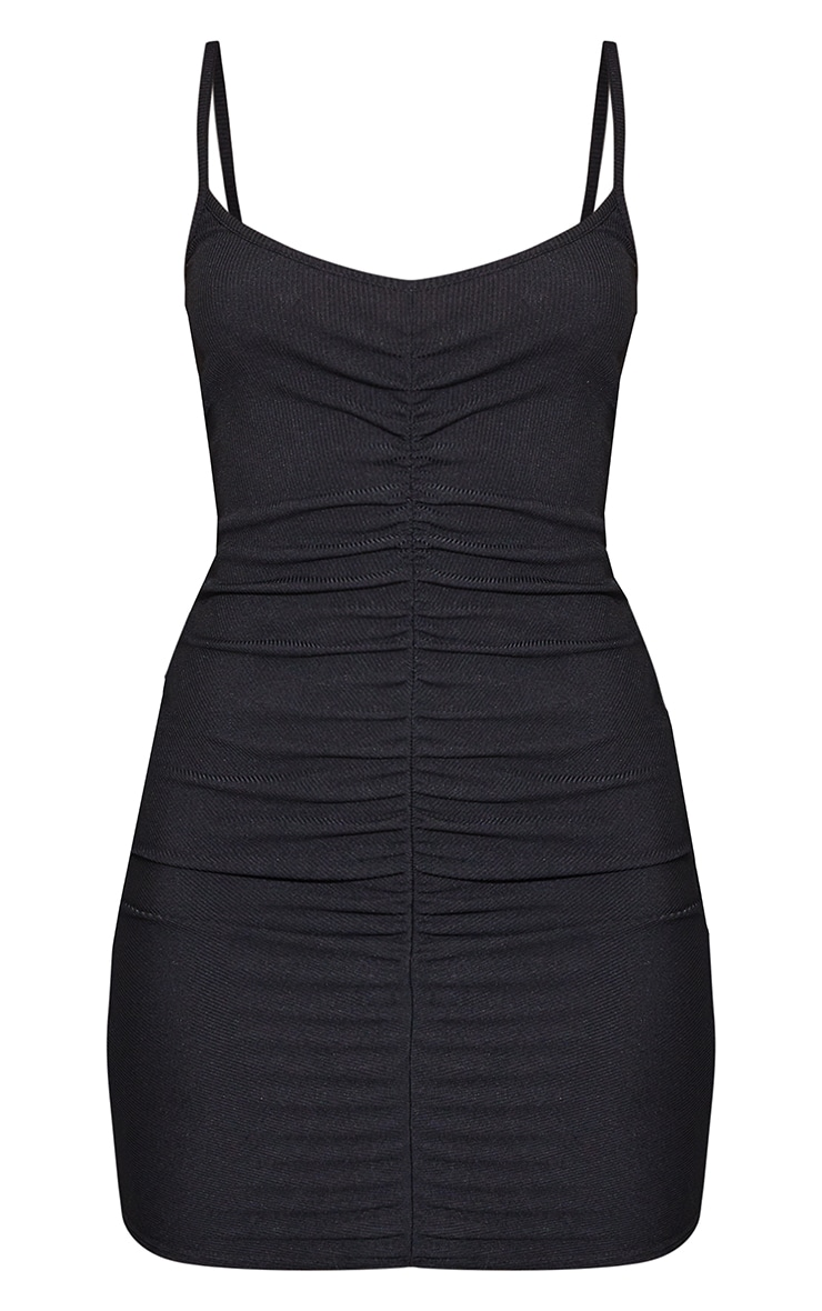 Black Ribbed Strappy Gathered Front Bodycon Dress 5