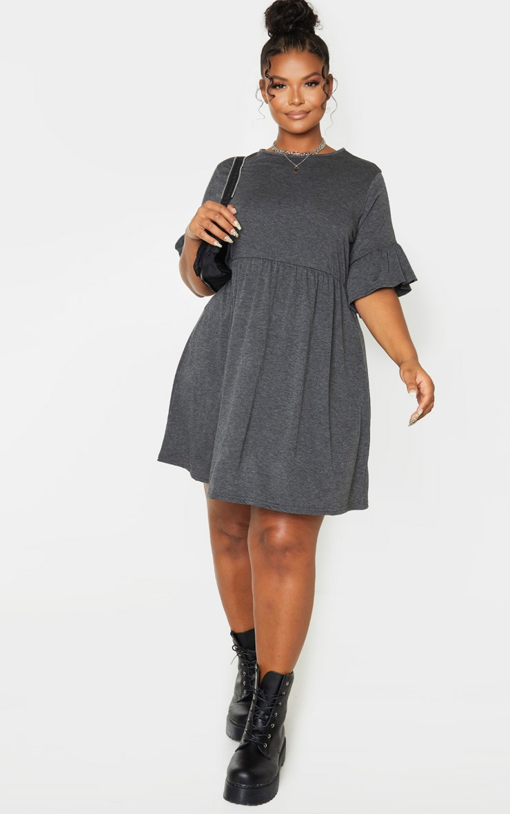 Plus Charcoal Frill Detail Smock Dress 4