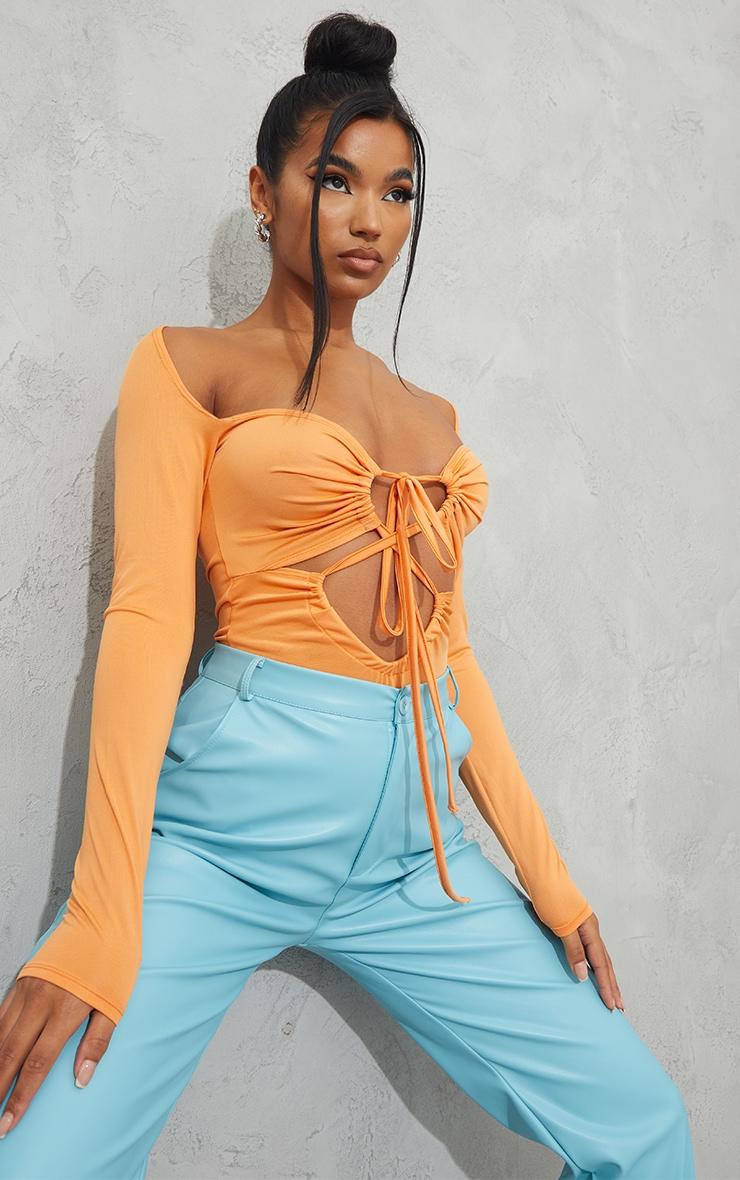 Tangerine Slinky Long Sleeve Lace Up Tie Detail Bodysuit 2