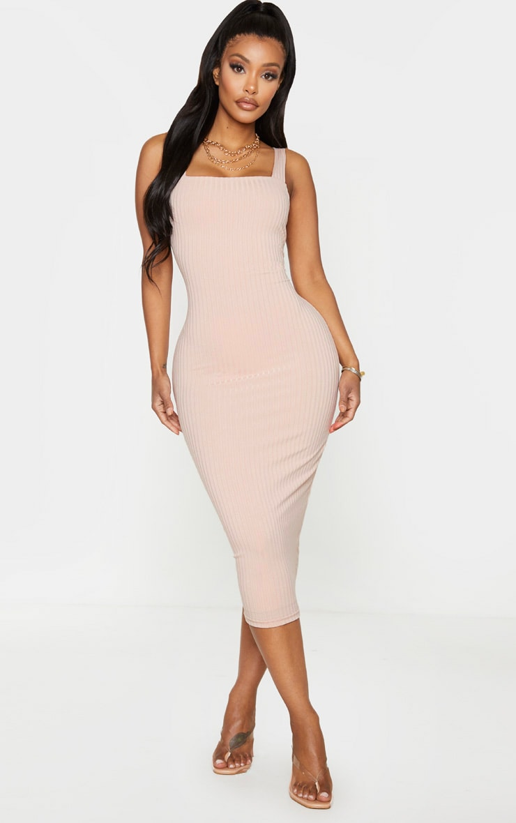 Shape Stone Ribbed Square Neck Midi Dress 1