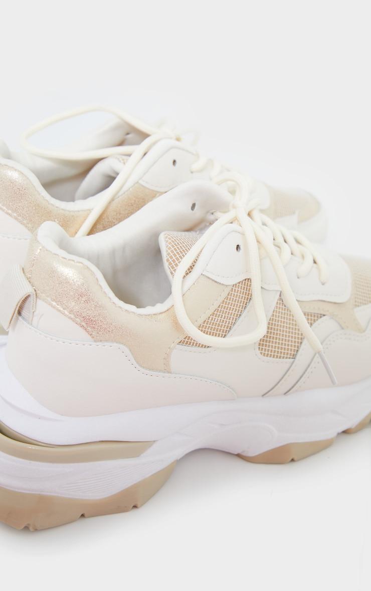 Beige Rubber Contrast Sole Sneakers 4