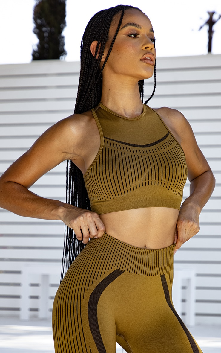 PRETTYLITTLETHING Light Brown Sport Contrast Stripe Seamless Crop Top 3