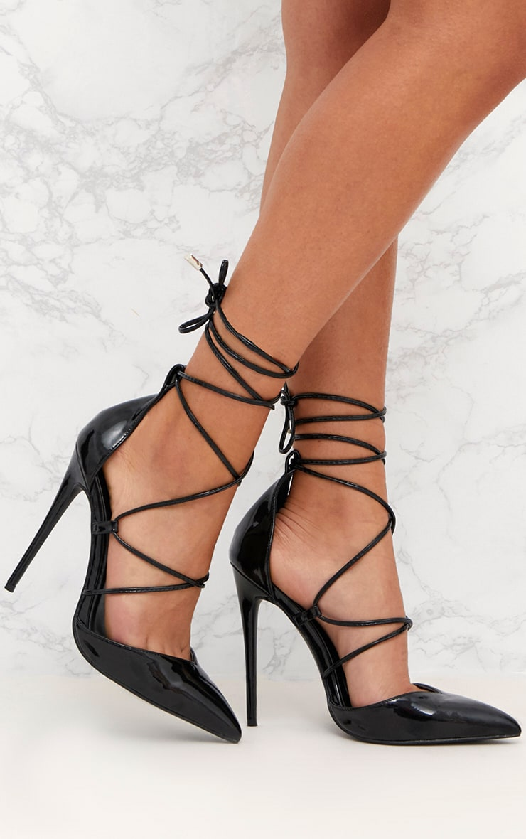 43b68189992 Black Pointed Patent Stiletto Heels image 1