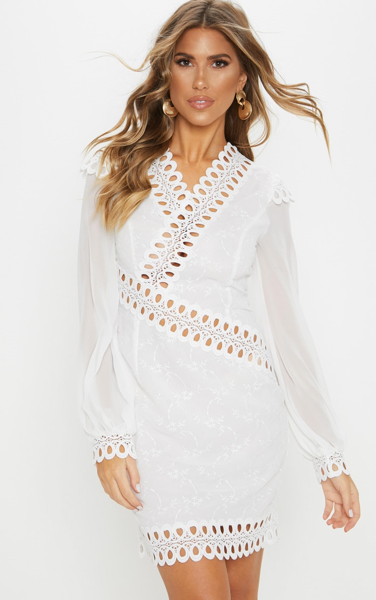 White Broderie Anglaise Long Sleeve Lace Trim Shift Dress 1