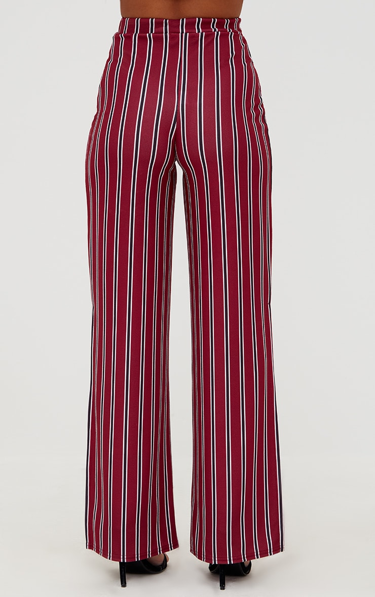 Petite Burgundy Stripe Flared Suit Trousers 2