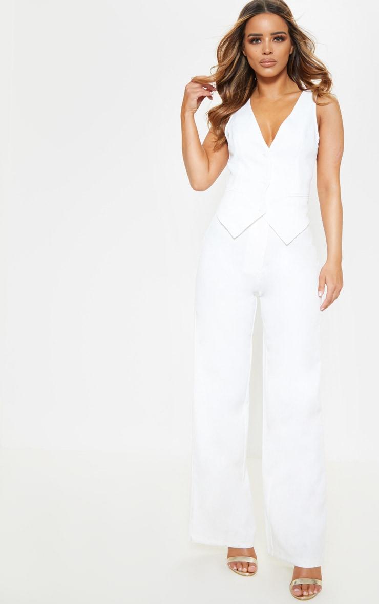 Petite White Tuxedo Trousers 1