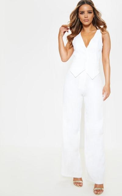Petite White Tuxedo Trousers