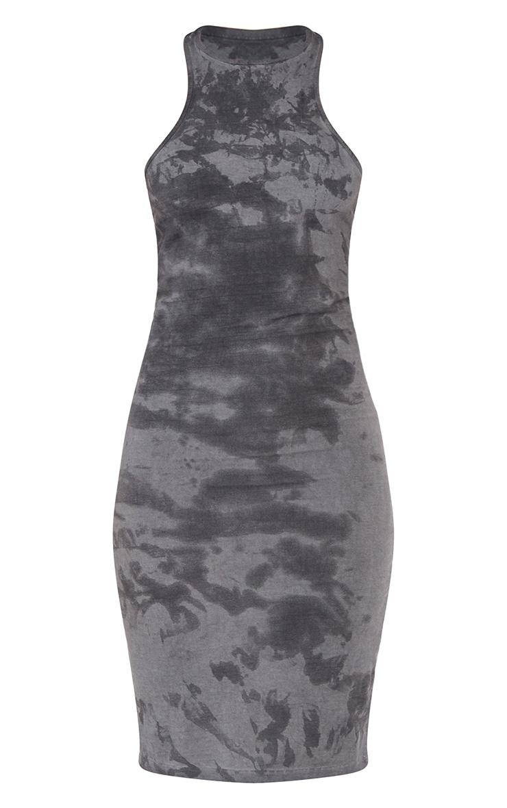 Black Acid Wash Rib Racer Neck Midi Dress 5