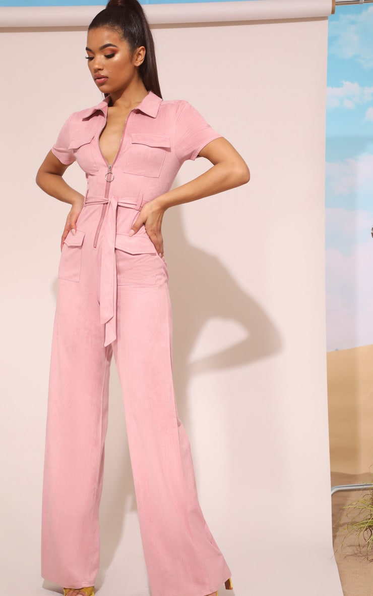Rose Pink Faux Suede Zip Detail Jumpsuit 2