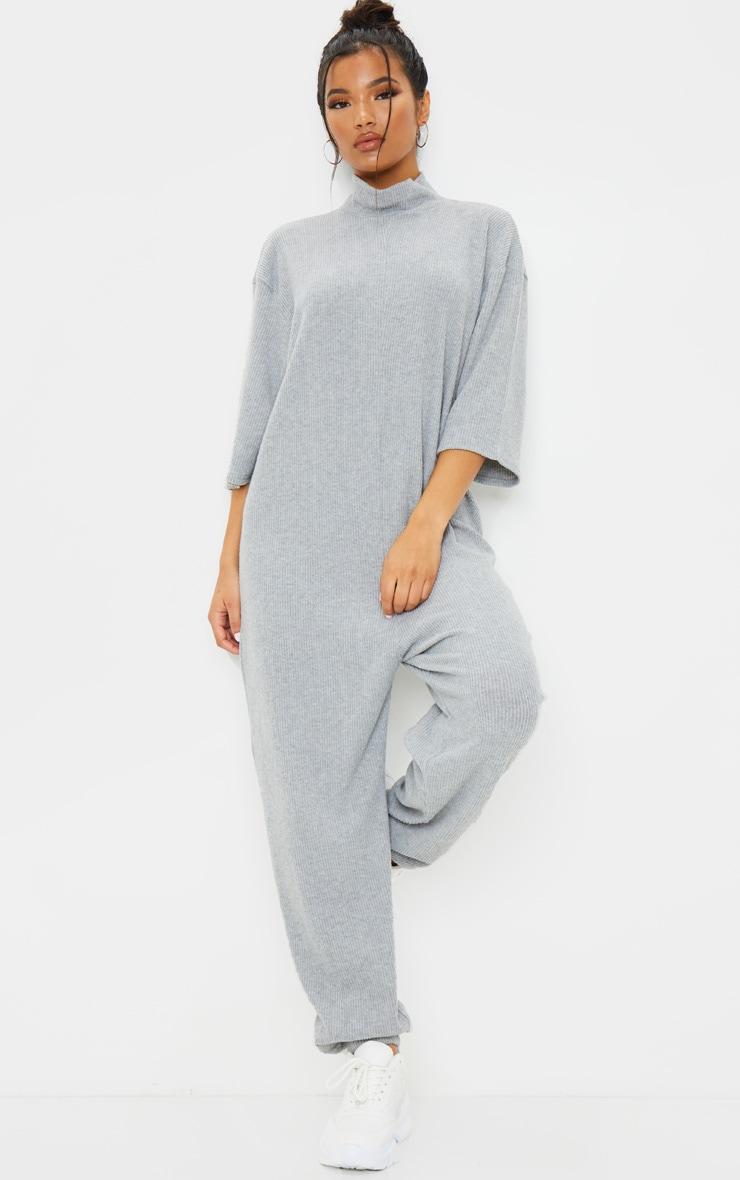 Grey Brushed Rib High Neck Oversized Jumpsuit 1