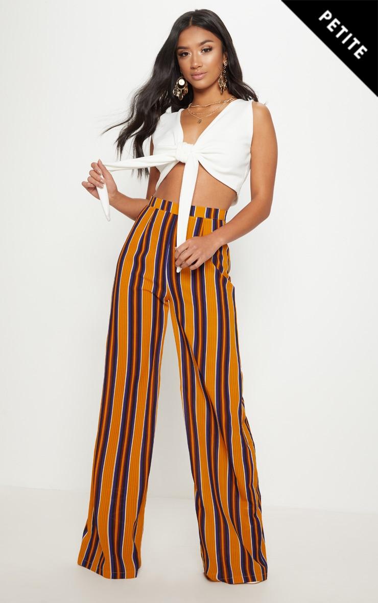 Petite Mustard Striped Wide Leg Trousers 1