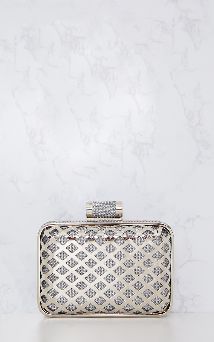 Silver Metal Cage Clutch 4