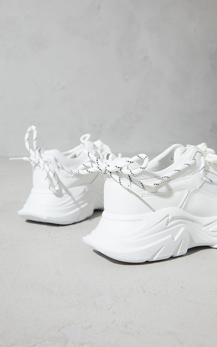 White Hiker Lace Up Double Sole Chunky Sneakers 4