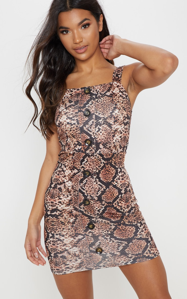 Brown Snake Tortoise Shell Button Front Bodycon Dress 1