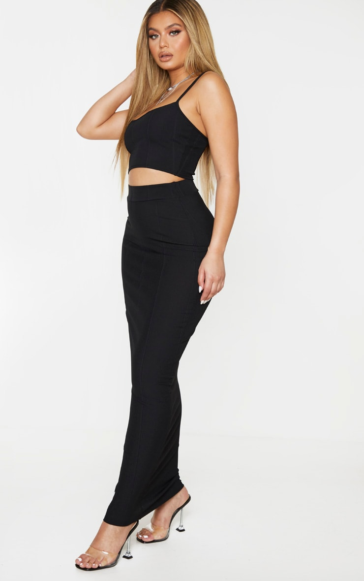 Black Rib Panel Midaxi Skirt 1