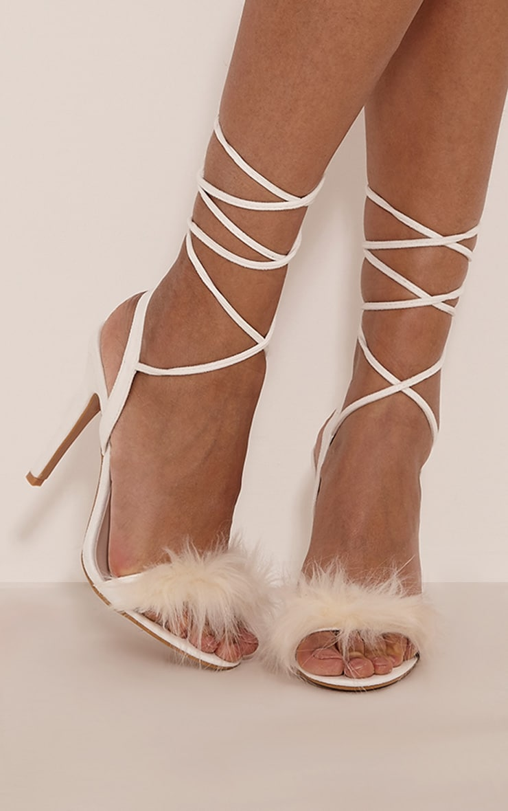 Missie White Fluffy Tie Heeled Sandals 1