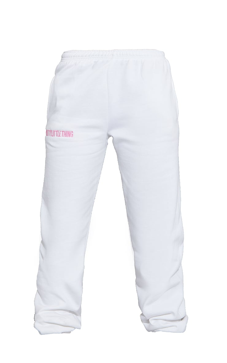 PRETTYLITTLETHING White Oversized Embroidered Joggers 5