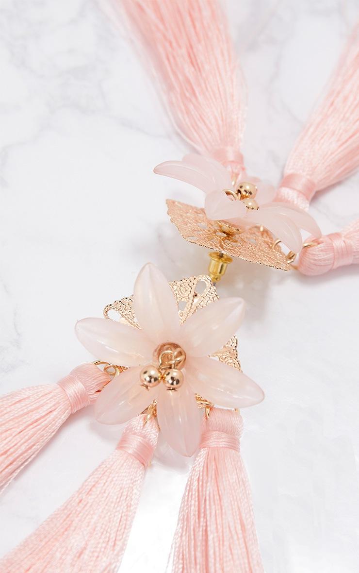 Baby Pink Floral Tassel Earrings 4